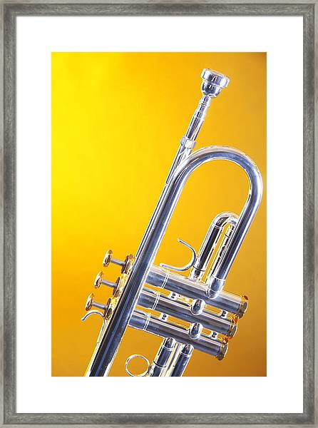 Silver Trumpet Isolated On Yellow Framed Print