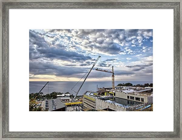 Sky And Cranes Framed Print