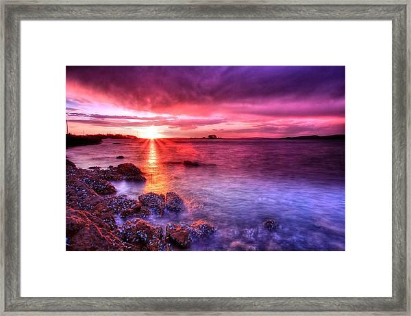Snapper Island Sunset Framed Print