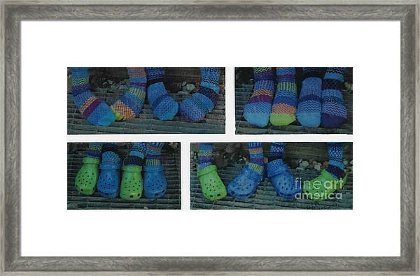 Socks And Crocs Framed Print