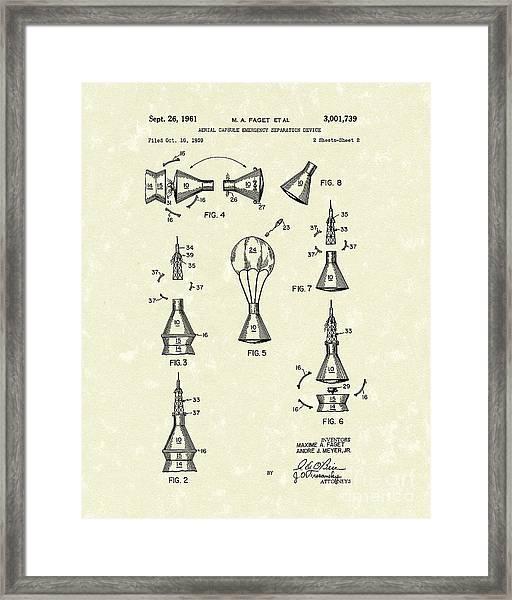 Space Capsule 1961 Patent Art #2 Framed Print