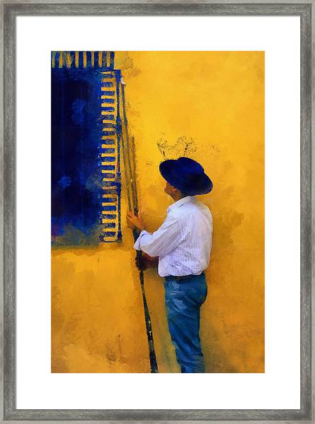 Spanish Man At The Yellow Wall. Impressionism Framed Print