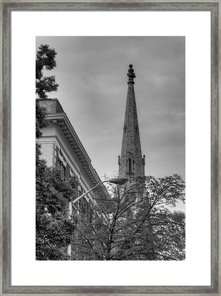 Spire From Trees Framed Print