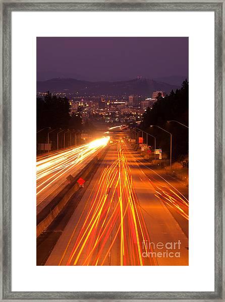 Spokane At Night Framed Print
