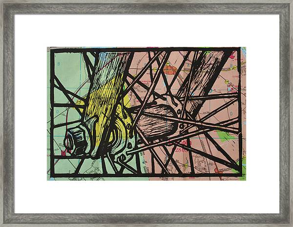 Spokes On Map Framed Print