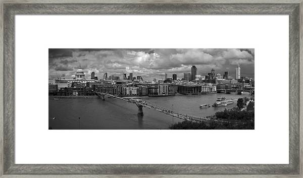 St Paul's And The City Panorama Bw Framed Print
