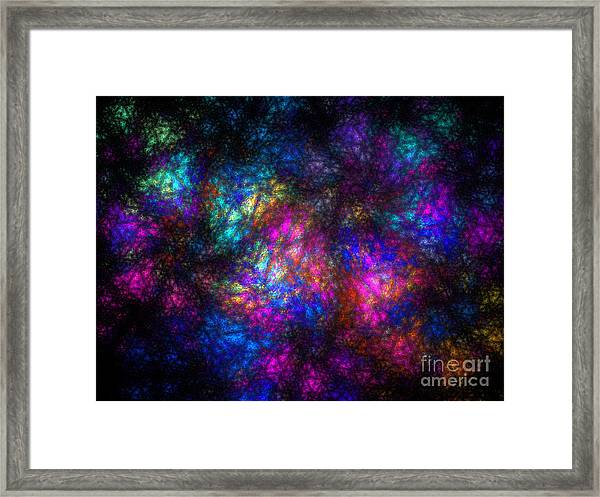 Stain Glass Fractal Abstract Framed Print