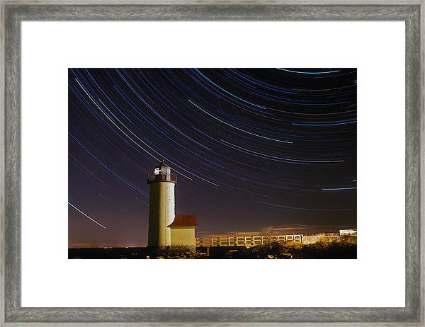 Star-trails Over Annisquam Lighthouse Framed Print