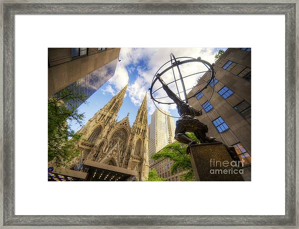Statue And Spires Framed Print