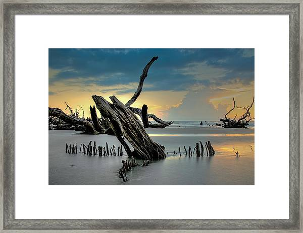 Framed Print featuring the photograph Sticks In The Sand by Francis Trudeau