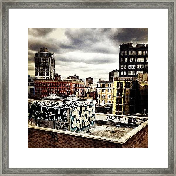 Storm Clouds And Graffiti Looking Out Framed Print