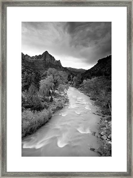 Storm Over The Watchman Framed Print