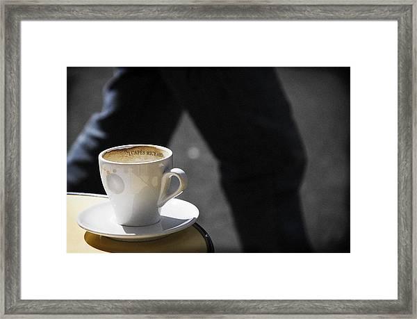 Streetside Cafe Framed Print