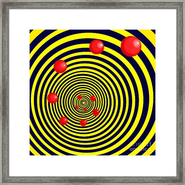 Summer Red Balls With Yellow Spiral Framed Print