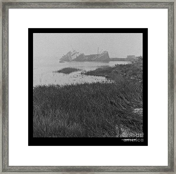 Sunk Freighter Framed Print