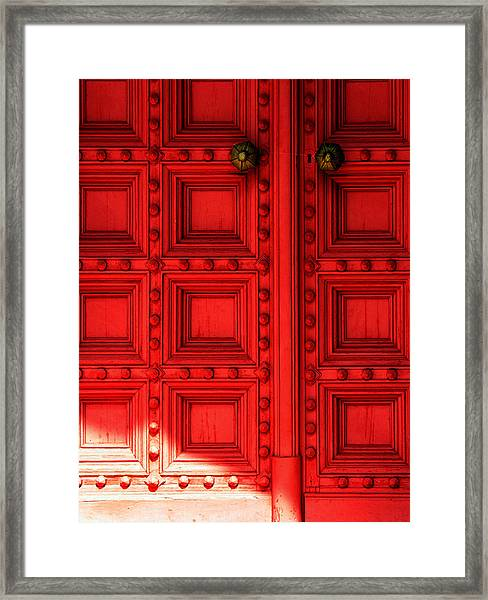 Sunlight On The Red Door Framed Print