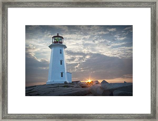 Sunrise At Peggys Cove Lighthouse In Nova Scotia Number 041 Framed Print
