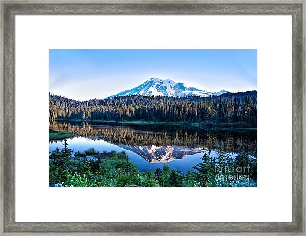Sunrise At Reflection Lake Framed Print