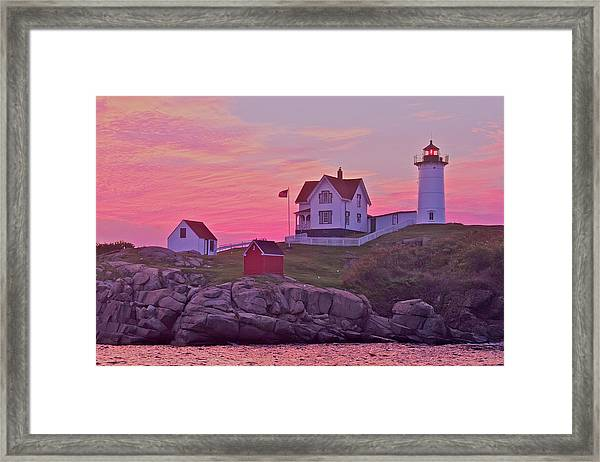 Sunrise Nubble Lighthouse Framed Print
