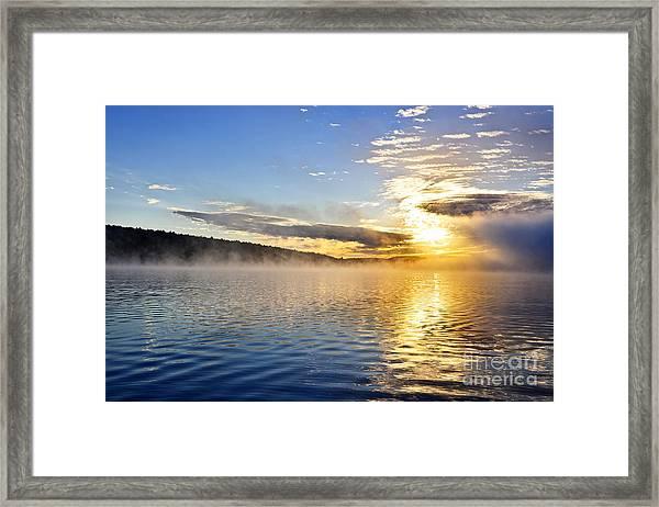 Sunrise On Foggy Lake Framed Print