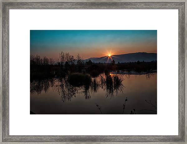 Sunrise Over The Beaver Pond Framed Print