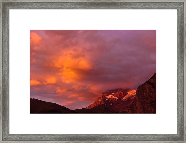 Sunset Murren Switzerland Framed Print