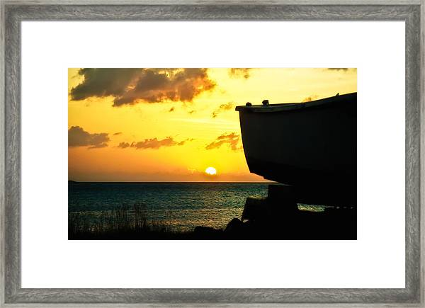 Sunset On Boat Framed Print