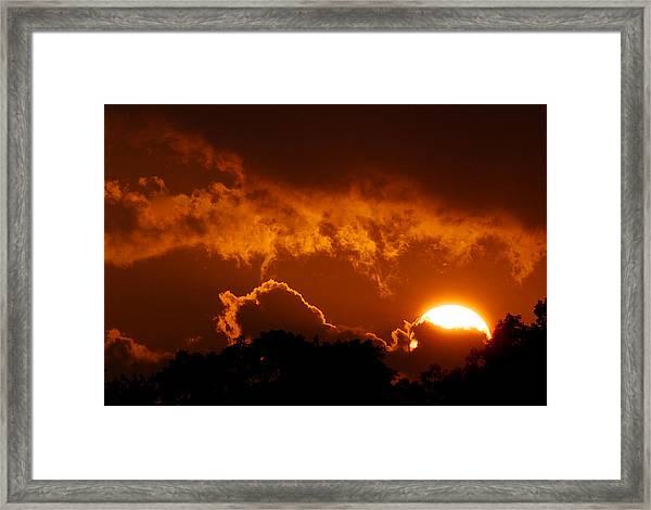 Sunset On Fire Framed Print
