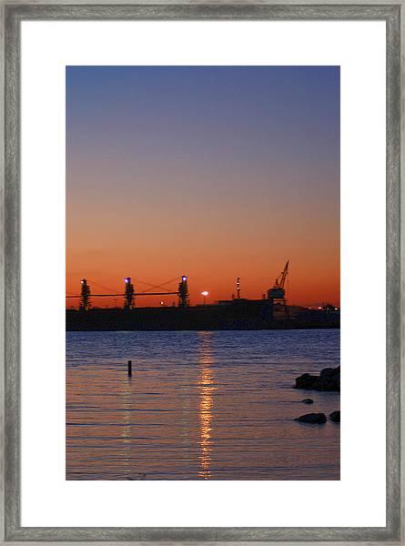 Sunset On The Detroit River Framed Print