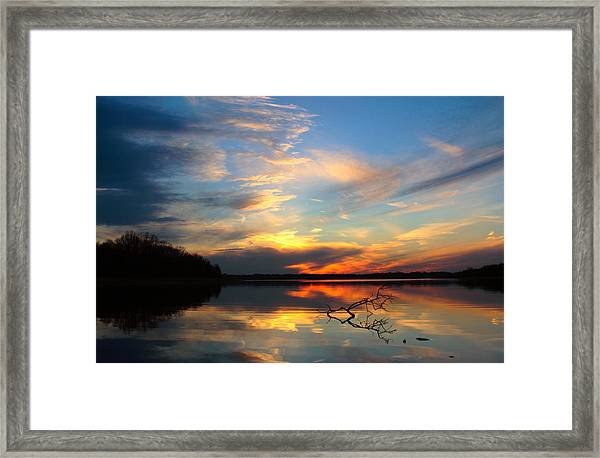 Sunset Over Calm Lake Framed Print
