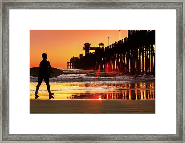 Surf Session At Sunset Framed Print by Donna Pagakis