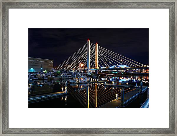 Tacoma Hwy 509 Bridge Up In Lights 1 Framed Print