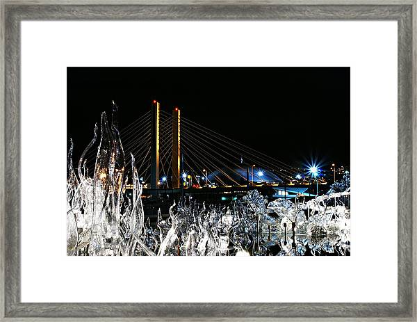 Tacoma Museum Of Glass Outdoor Sculpture Enhanced Framed Print
