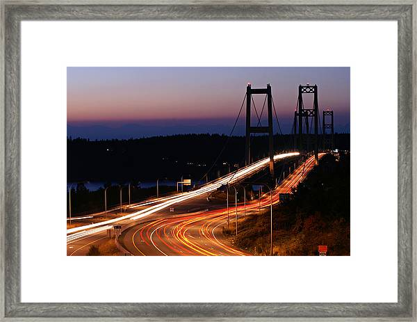 Tacoma Narrows Bridges Flowing Light  Framed Print