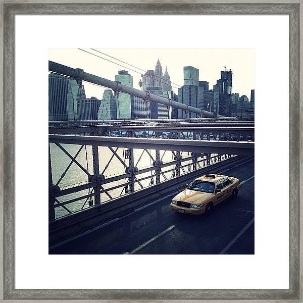 Taxi On Bridge Framed Print