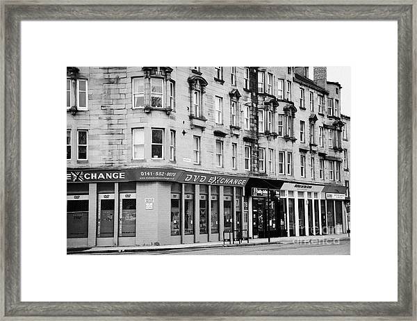 Tenement Buildings And Shops On Saltmarket Glasgow Scotland Uk Framed Print by Joe Fox