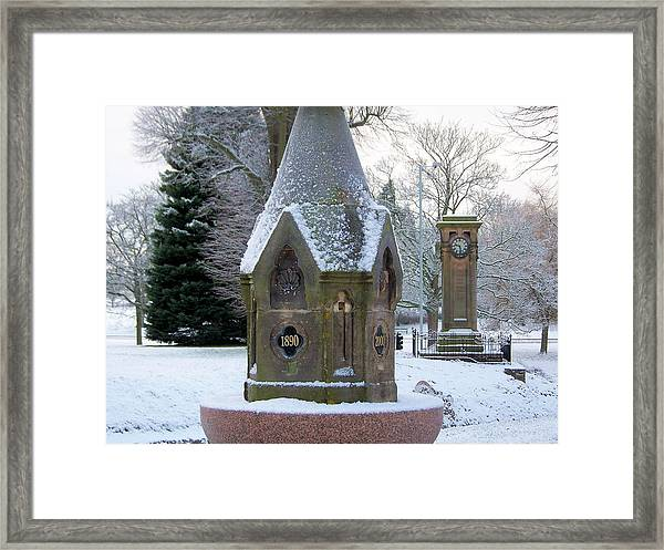Tettenhall Village Snow Framed Print