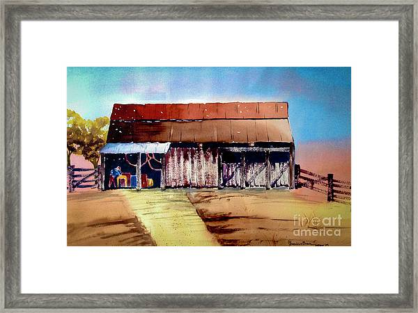 Framed Print featuring the painting Texas Barn by Genevieve Brown