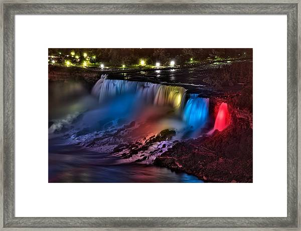 The American Falls Illuminated With Colors Framed Print