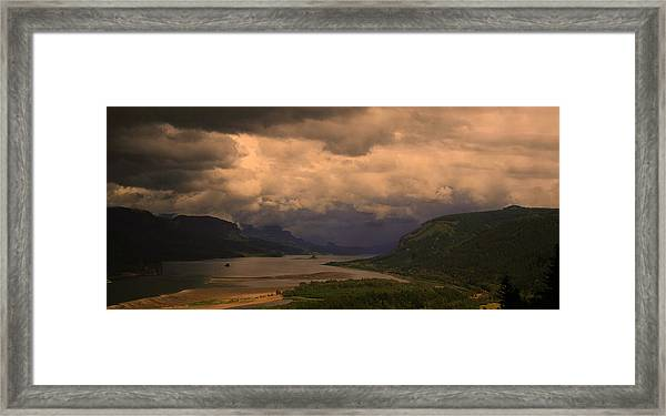 The Columbia River  Looking Up Stream Framed Print