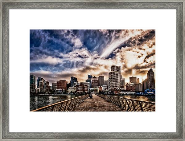 The Embarcadero On The Waterfront At Sunset Framed Print