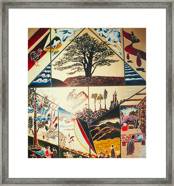 Framed Print featuring the painting The Legend Of The Cedar Tree by Ray Khalife