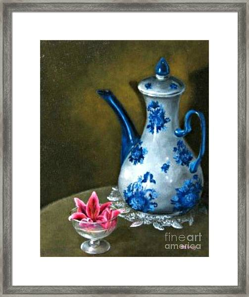 The Lily And The Coffe Pot Framed Print by Patricia Lang