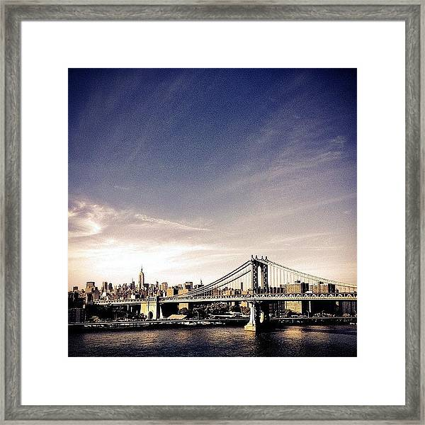 The Manhattan Bridge And New York City Skyline Framed Print