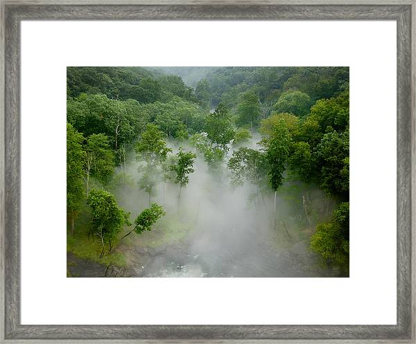 The Mist In The Valley Framed Print
