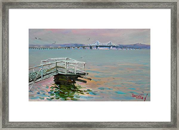 The Old Deck And Tappan Zee Bridge Framed Print