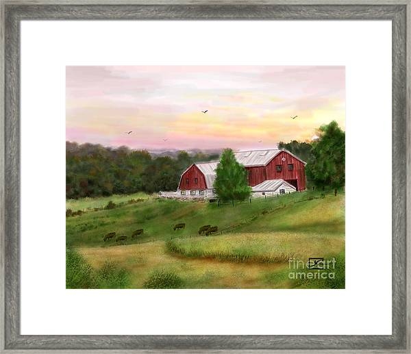 The Red Barn At Sunset Framed Print by Judy Filarecki