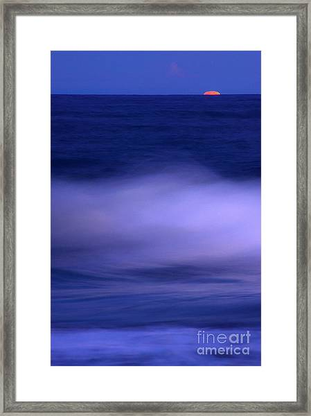 The Red Moon And The Sea Framed Print