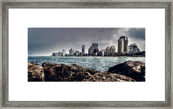 The Rocks_the Sea_the City Framed Print by Amr Miqdadi