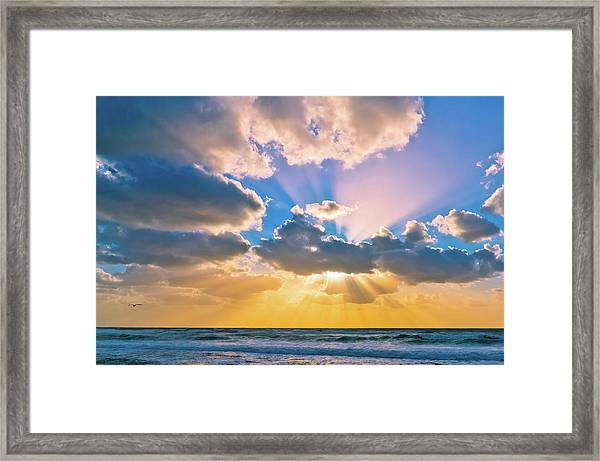 The Sea In The Sunset Framed Print